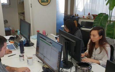 personas trabajando en sus computadoras. pasantía en japón